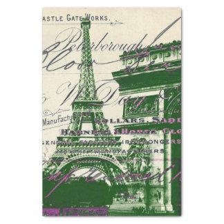 french scripts Paris eiffel tower arch of triumph Tissue Paper