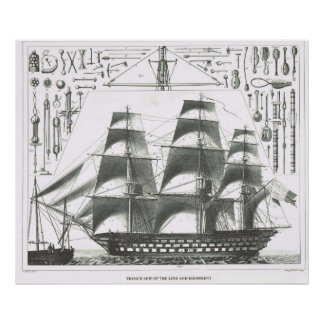 French Ship of the line and equipment Poster