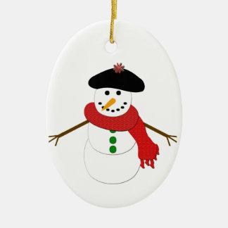 French Snowman Christmas Ornament