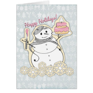 French snowman pastry chef artisan Christmas cake Greeting Card