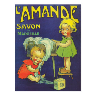 French soap label advertisement Children L'amande Postcard