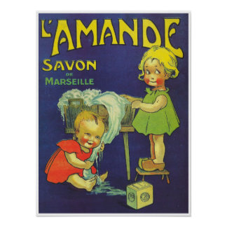 French soap label Children Savon l'Amande Poster
