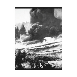 French soldiers using liquid fire to_War image Canvas Print