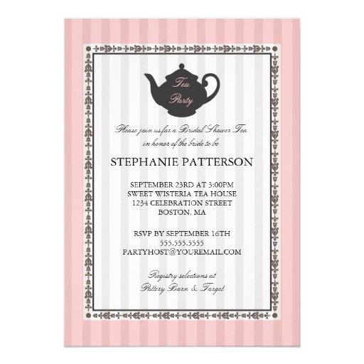 French Stripe Chic Bridal Shower Tea Party Custom Invites