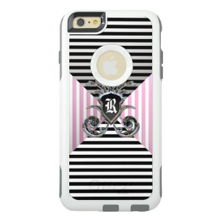 French Striped Pattern Elegant Girly Monogram OtterBox iPhone 6/6s Plus Case