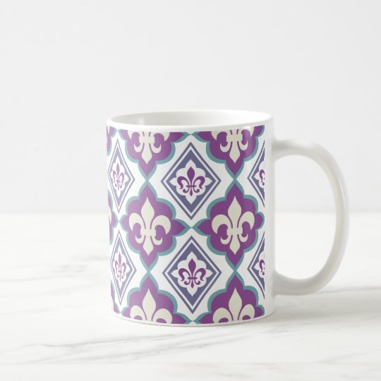 French Style Fleur de Lis Pattern Coffee Mug