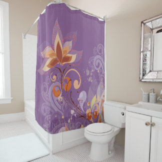French Style Floral Purple Shower Curtain