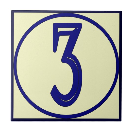 French Style House Numbers 3 Tile