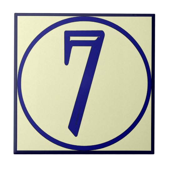 French Style House Numbers 7 Small Square Tile