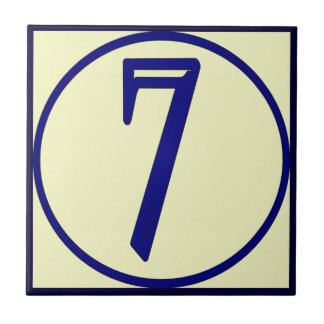 French Style House Numbers 7 Tile