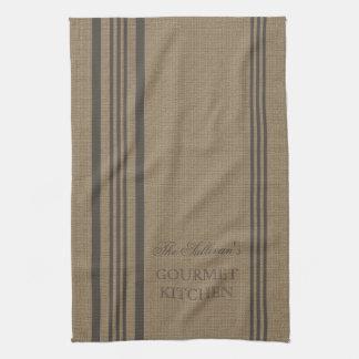 French Style Stripe Burlap Personalized Kitchen Tea Towel