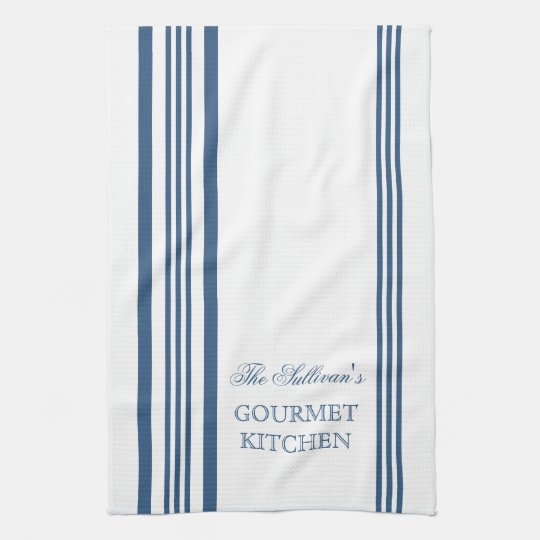 French Style Stripe Personalised Kitchen Towels