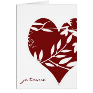 French Toile Valentine-I Love You (Informal) Note Card