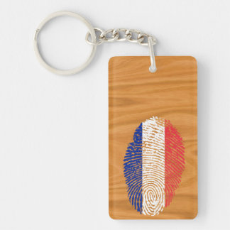 French touch fingerprint flag key ring