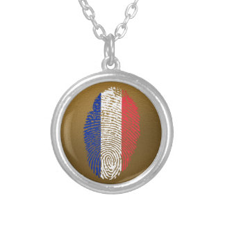 French touch fingerprint flag silver plated necklace