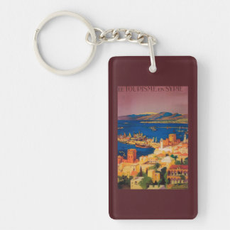 French Travel Poster, Touring in Syria Double-Sided Rectangular Acrylic Key Ring