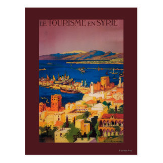 French Travel Poster, Touring in Syria Postcard