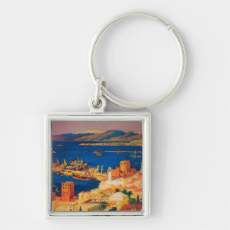 French Travel Poster, Touring in Syria Silver-Colored Square Key Ring