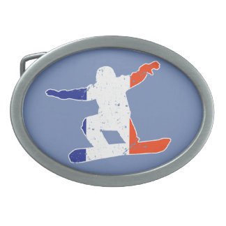 French Tricolor SNOWBOARDER (wht) Belt Buckle