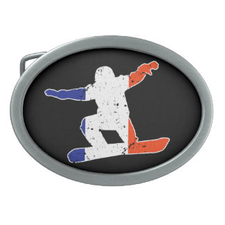 French Tricolor SNOWBOARDER (wht) Oval Belt Buckle