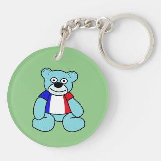 French Tricolore - Blue Teddy Bear Double-Sided Round Acrylic Key Ring