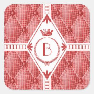 French Trompe L'oeil Tufted Red Diamond Monogram Square Sticker