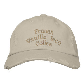 French Vanilla Iced Coffee Distressed Cap Embroidered Hats