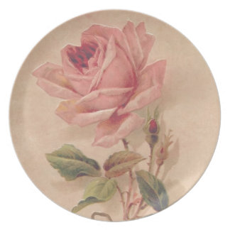 French Victorian Pink Rose Plate