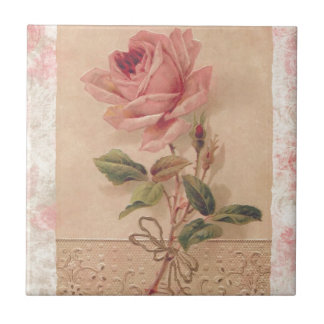 French Victorian Pink Rose Small Square Tile