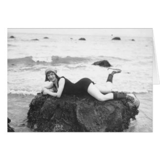 """""""French Vintage beach pose"""" blank card"""