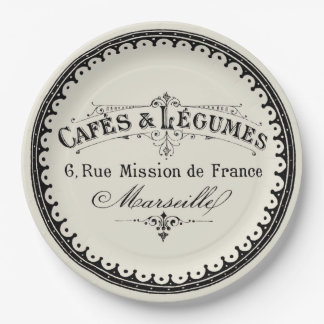 French Vintage Cafe Lettering On Beige 9 Inch Paper Plate