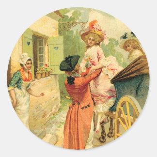 French Vintage Carriage 18th Century Round Sticker