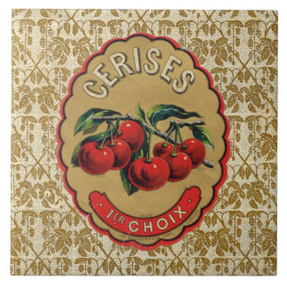 French Vintage Cherries Label Large Square Tile