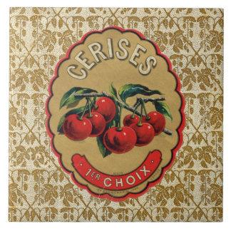 French Vintage Cherries Label Ceramic Tiles