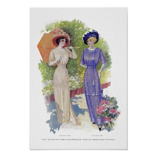 French Vintage Fashion with Purple Dress Poster