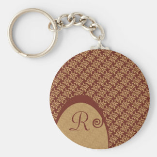 French Vintage Floral Pattern Basic Round Button Key Ring