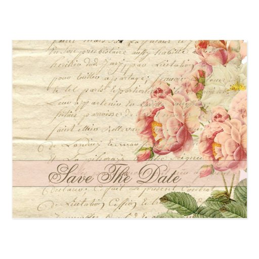 French Vintage Letter and Roses Save The Date Postcards