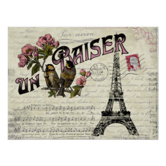 French Vintage Love  Poster