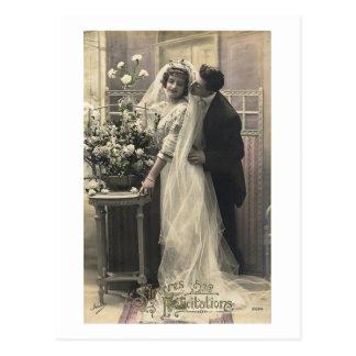 French Vintage Romantic Love Wedding Postcard