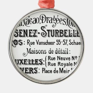french vintage typography chocolate advert christmas ornament