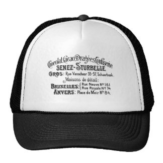 french vintage typography chocolate advert hats