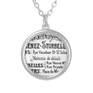 french vintage typography chocolate advert silver plated necklace