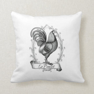 french vintage typography  cushion chicken