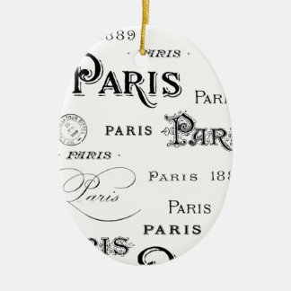 french vintage typography design Paris Ceramic Oval Decoration