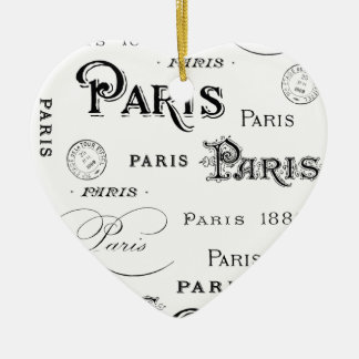 french vintage typography design Paris Christmas Ornament