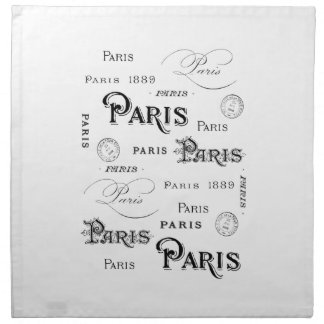 french vintage typography design Paris Napkin