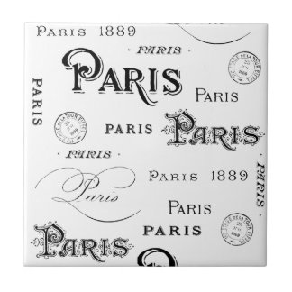 french vintage typography design Paris Small Square Tile