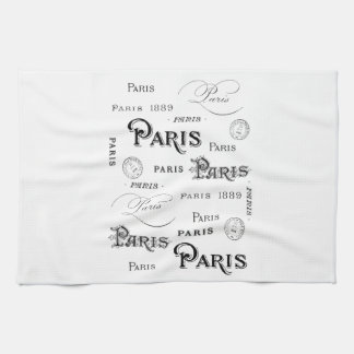 french vintage typography design Paris Tea Towel