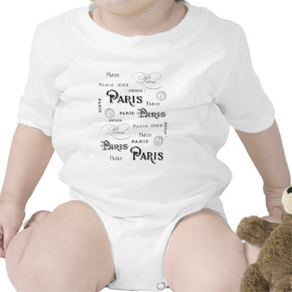 french vintage typography design Paris Baby Creeper
