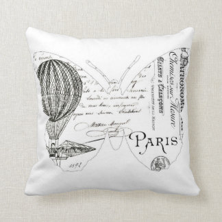 French VintageTypography Butterfly Design Cushion